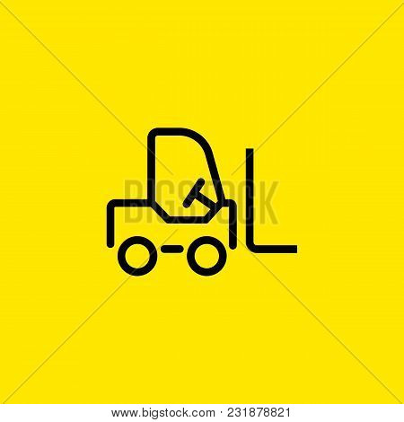 Line Icon Of Forklift. Distribution Center, Warehouse, Trade Center. Delivery Concept. Can Be Used F