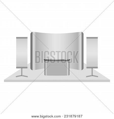 Reception Desk Mockup. Realistic Illustration Of Reception Desk Vector Mockup For Web