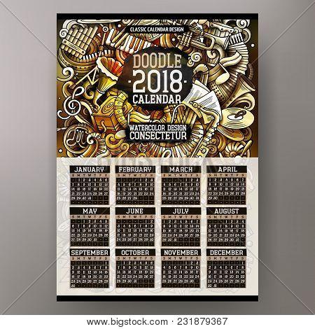 Cartoon Colorful Hand Drawn Doodles Classic Music 2018 Year Calendar Template. English, Sunday Start