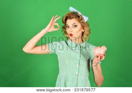 Family Budget, Bankruptcy And Handout. Family Budget, Pinup Housewife Save Money With Ok Gesture
