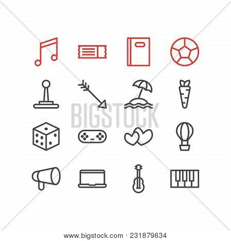 Vector Illustration Of 16 Joy Icons Line Style. Editable Set Of Image, Pen, Heart And Other Icon Ele