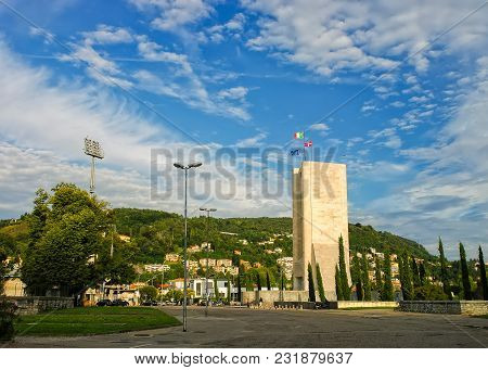 War Memorial In Como, Italy At Sunny Summer Day With Picturesque Sky