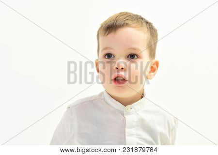 Little Boy In White Shirt, Business. Child With Happy Face Isolated On White, White Party. Kid Fashi