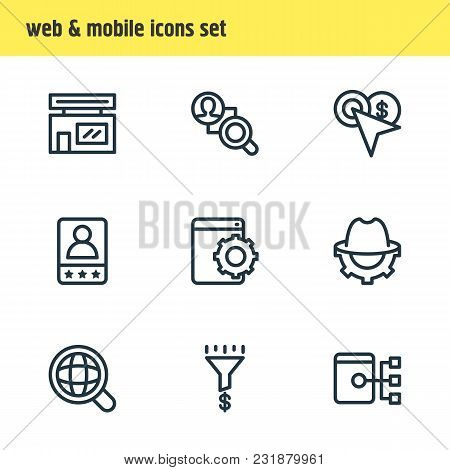 Vector Illustration Of 9 Advertisement Icons Line Style. Editable Set Of Customer Testimonials, Book