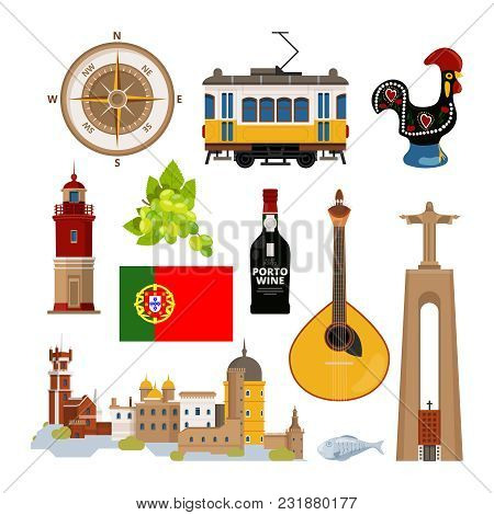 Historical Symbols Of Portugal Lissabon. Vector Icon Set In Flat Style. Portuguese Landmark, Lightho