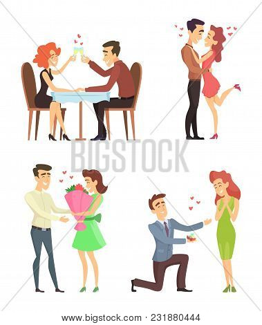 Lovely Couples. Funny Characters Romantic Male And Female. Illustrations For Valentines Day. Romanti