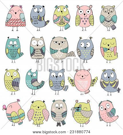 Set Of Cartoon Owls With Various Emotions.