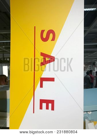 Sale Sign Banner With Shopping Mall Background
