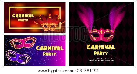 Carnival Mask Venetian Banner Concept Set. Realistic Illustration Of 3 Carnival Mask Venetian Vector