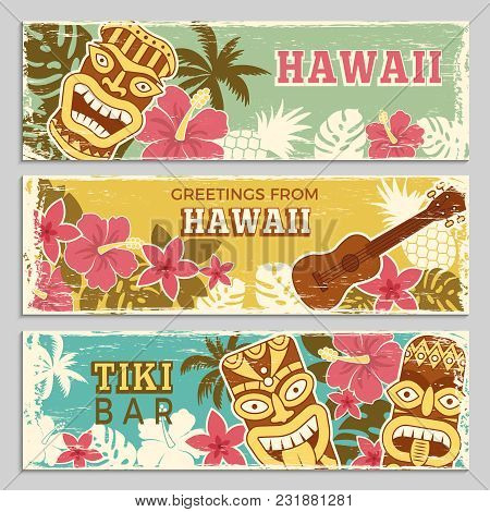Horizontal Banners Set With Illustrations Of Hawaiian Tribal Gods And Other Different Symbols. Hawai