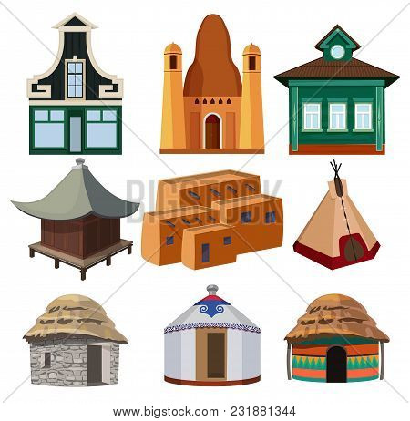 Tribal Small Houses Of Different Nationalities Isolated On White Background. Vector Wigwam Home, Nat