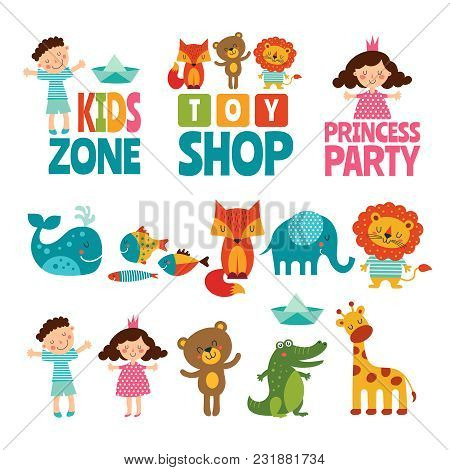 Funny Illustrations Of Kids And Animals. Vector Logos For Childrens. Toy Shop Logo, Kids Zone Emblem