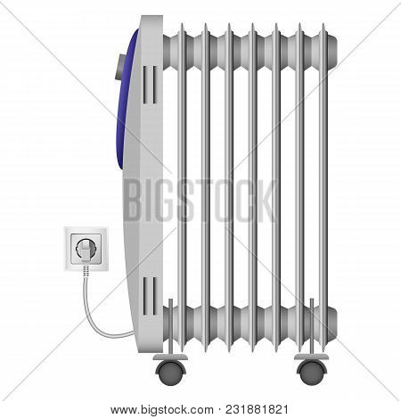 Portable Heater Mockup. Realistic Illustration Of Portable Heater Vector Mockup For Web