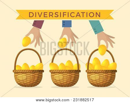 Business Concept Illustrations Of Diversification. Golden Eggs In Different Baskets. Vector Diversif