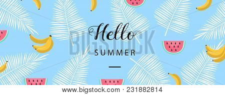 Hello Summer Banner. Flat Style Summer Background. Trendy Summer Wallpaper With Fruit. Vector Illust