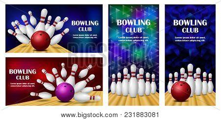 Bowling Kegling Banner Concept Set. Realistic Illustration Of 4 Bowling Kegling Vector Banner Horizo