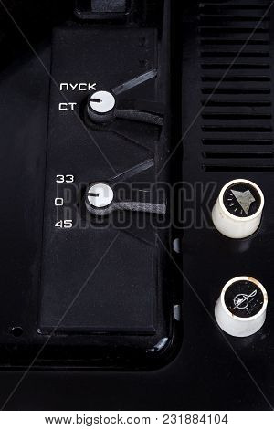 Control Panel Of Vintage Soviet Suitcase Turntable. Closeup Image