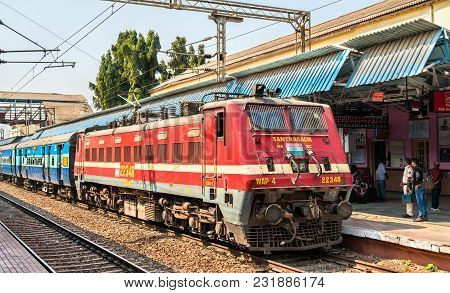 Jalgaon, India - February 8, 2018: Passenger Train At Jalgaon Junction Railway Station. Indian Railw