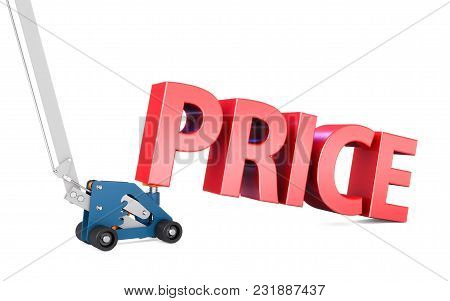 Hydraulic Floor Jack With Word Price , Jacking-up Prices Concept On White Background 3d Illustration