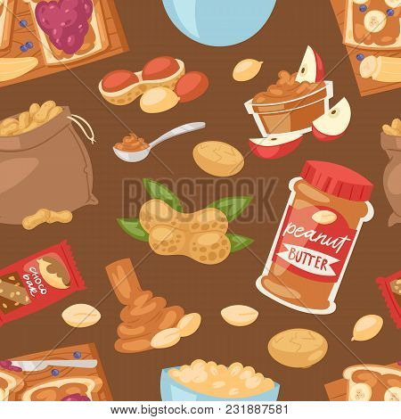 Peanut Vector Groundnut Butter Or Peanut Paste On Toast Bread Illustration Set Of Nutritious Nut Cre