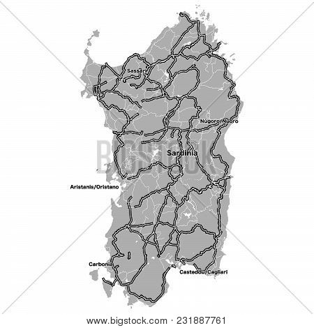 Sardinia Outline Map With Importand Steets. Vecor Artmap For Travel Marketing And Education