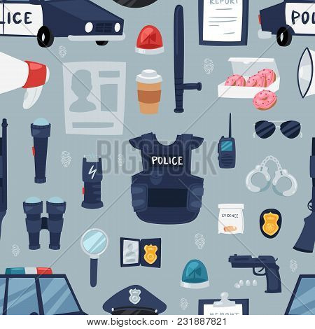 Police Vector Policy Signs Of Policeman And Police Car Illustration Set Of Or Policeofficers Bulletp