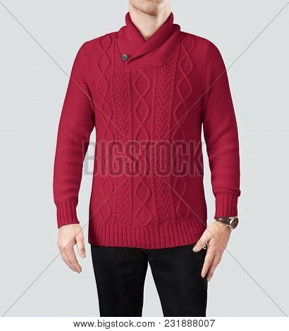 Extremely Warm Distinctive Cable Pattern Vibrant Red Color Mens Sweater Not Only Keeps You Extremely