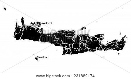 Crete Island Vector Map, Black And White Silhouette Outline Map For Travel Marketing And Education.