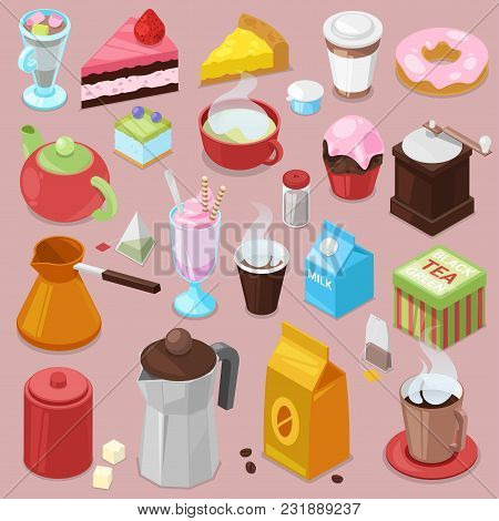 Dessert Cake Vector Drink Coffee Or Tea With Baked Cupcake And Sweet Doughnut In Cafe Illustration S