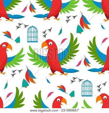 Seamless Pattern Parrot Bird Cell Vector Illustration Wild Animal Characters Cute Fauna Tropical Fea