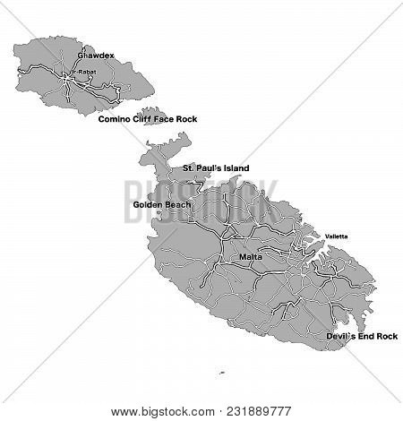 Malta Island Vector Map. Highways And Cities On Grey Background.