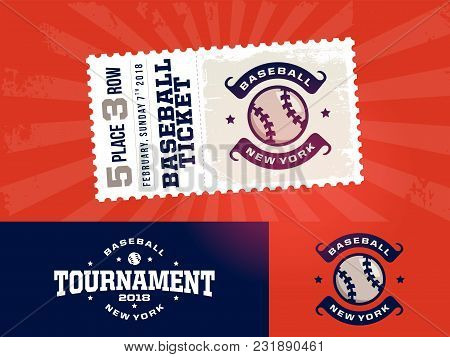 One Modern Professional Design Of Baseball Tickets And Logo In Red Theme
