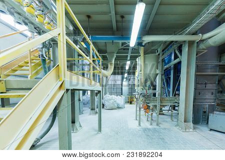 Modern Operational Plant Equipment With Some Bags Of Chemicals Heavy Industry Machinery Metalworking