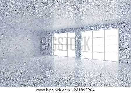 Ceo Office With White Walls In An Office Area With A Panoramic Window. A Large Blank Wall Fragment.