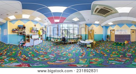 Minsk, Belarus - September, 2017: Panorama 360 Angle View In Interior Of Modern Child Kindergarden D