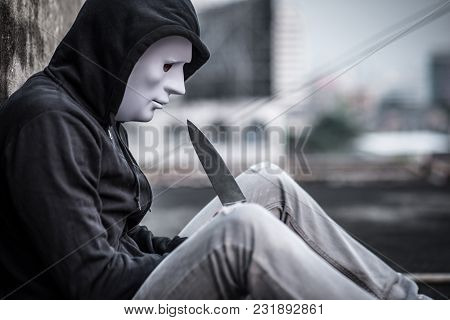 Mystery Man In White Mask Considering Suicide With Knife, Depression Self Destruction Suicidal Addic