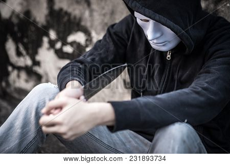Mystery Man In The White Mask Trying To Kill Himself Considering Suicide With Knife, Depression Self