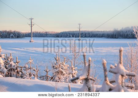 View Over The Lake Menstraesket With Ropeway In Vaesterbotten, Sweden