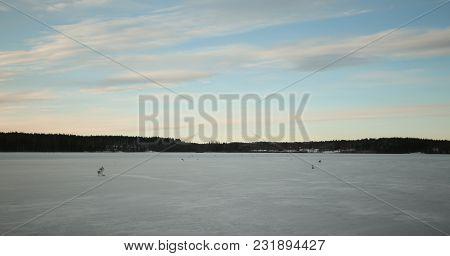 View Over The Lake Alebosjoen In Sweden