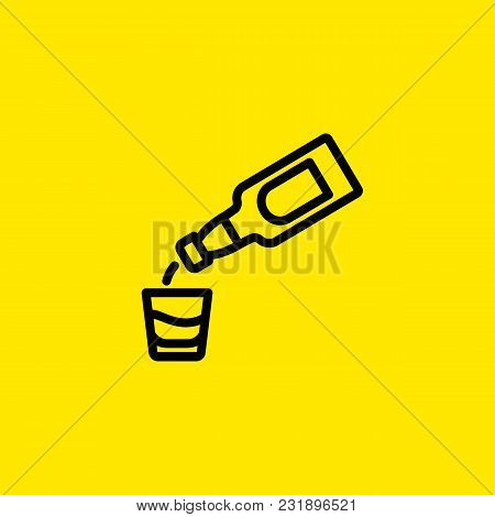 Icon Of Pouring Alcohol Beverage. Glass, Bottle, Whiskey. Whiskey And Bar Concept. Can Be Used For T