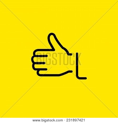 Line Icon Of Hand Showing Thumb Up Gesture. Liking, Success, Approval. Gesture Concept. Can Be Used