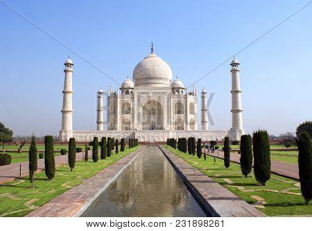 Taj Mahal mausoleum in Agra, India. UNESCO world heritage site