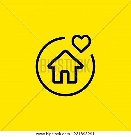 Icon Of House Property. Heart, Dwelling, Protection. Life Conditions Concept. Can Be Used For Topics