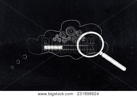 Analysing Thoughts Conceptual Illustration: Gearwheel Mechanism With Progress Bar Loading Inside Tho
