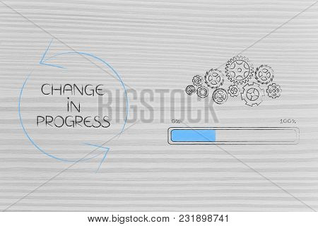 Change In Progress Conceptual Illustration: Gearwheel Mechanism With Progress Bar Next To Caption Wi