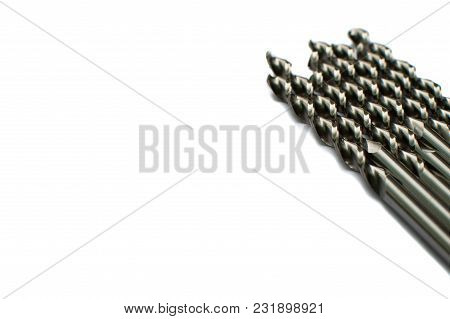 Drill Bits Of Different Sizes, Isolated On White Background.