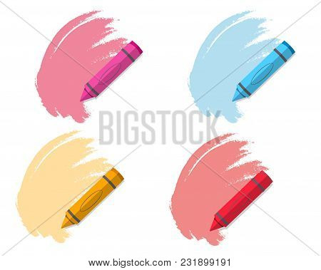 Set Of Colored Pencils. Bright Color Vector Illustration. Isolated On A White Background.
