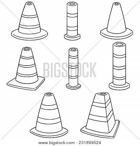 Vector Set Of Traffic Cone Hand Drawn Cartoon