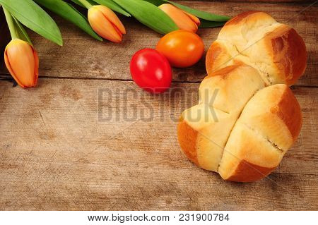 Traditional Austrian Easter Pinze (pincas) Over Wooden Background