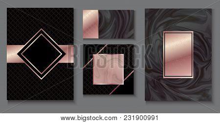 Brochure Or Vip Packaging Design Set, Luxury Wrap Paper Template Or Background In Trendy Geometric S